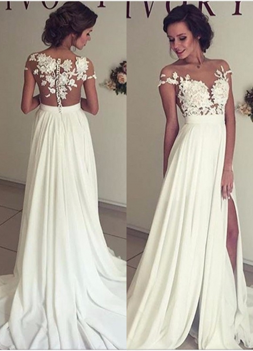 2a75b8010ad Lace Appliques Off-The-Shoulder Plunge V Floor Length Chiffon A-Line Wedding