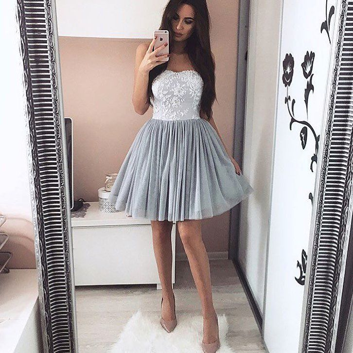 09c92db220f Elegant Silver Homecoming Dresses Sweetheart Neckline Lace Appliques Short  Prom Dress
