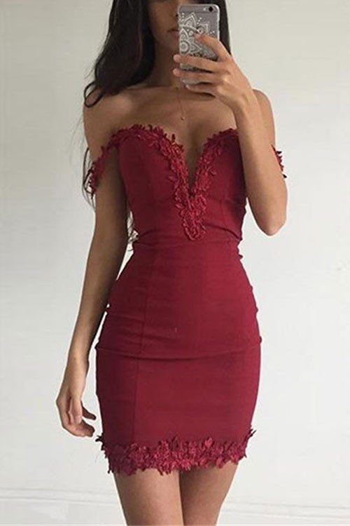 Sexy Burgundy Sheath Homecoming Dresses Off-the-shoulder Lace ...