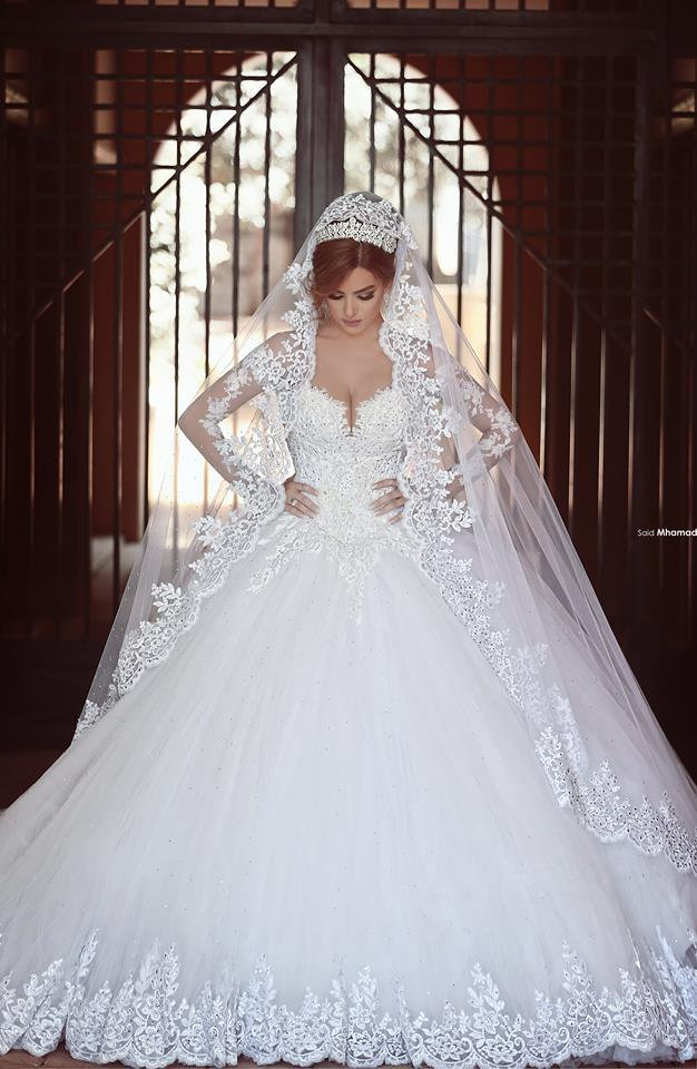 Long Sleeves Lace Ball Gown Wedding Dresses Chapel Train Amazing New ...