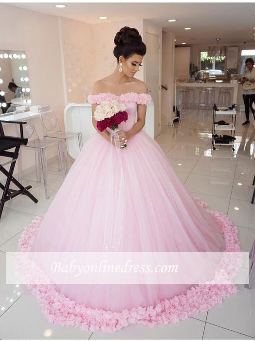 Pink Ball Gown Wedding Dresses Off The Shoulder Rose Flowers Cloud