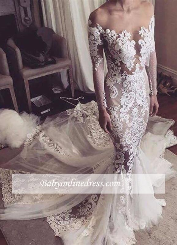 0dab210f9f0 Sexy Glamorous Long-Sleeves Mermaid Wedding Dress 2018 Tulle Appliques  bridal Gowns